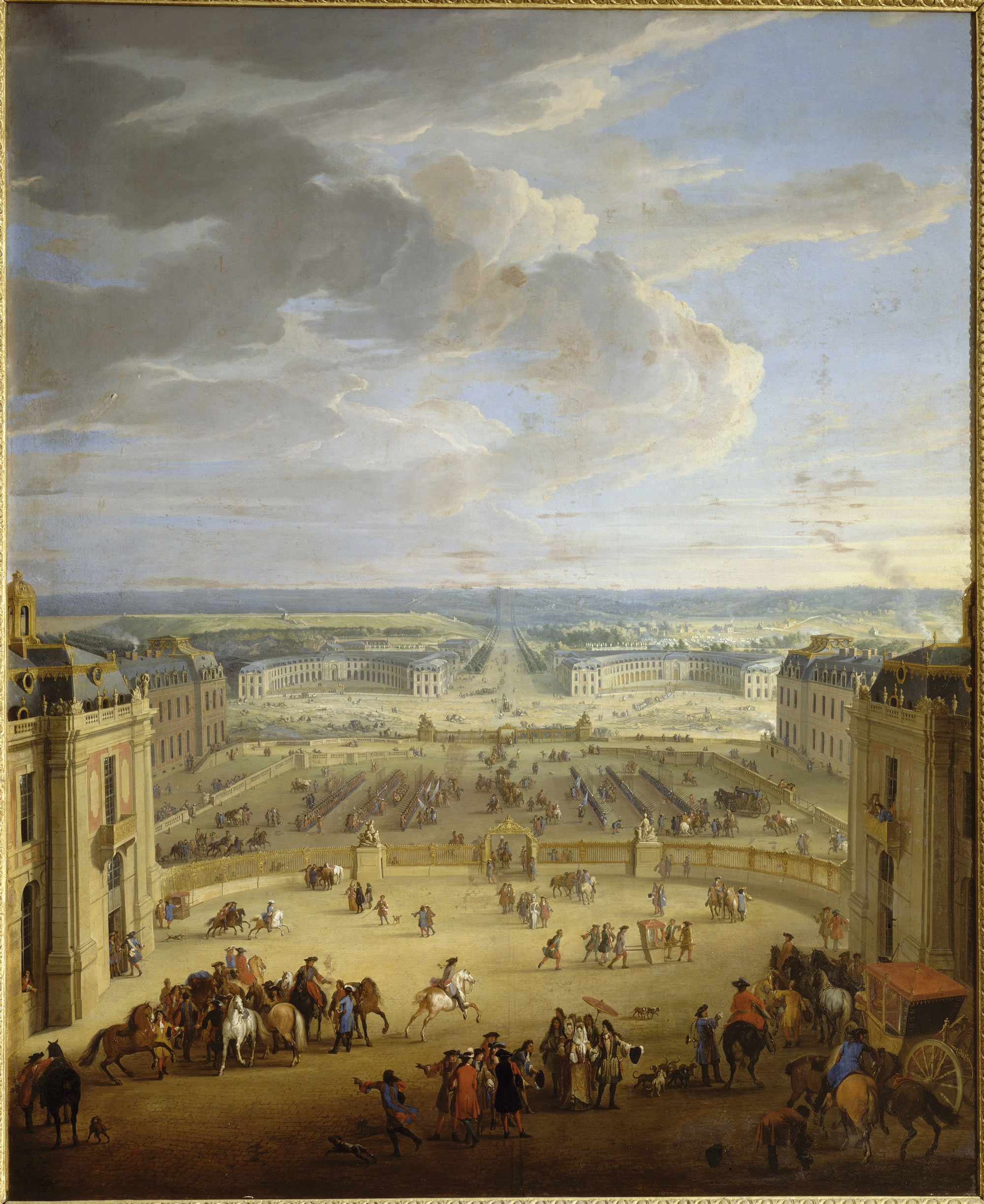 The stables seen from the Marble Courtyard of the palace of Versailles,  showing Madame de
