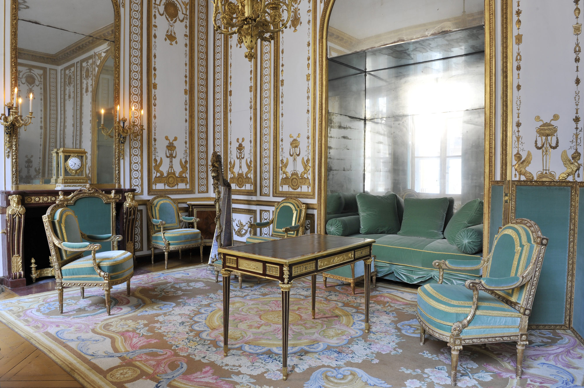 Present Day View Of The Cabinet Doré In The Interior Apartment Of The  Queen,. Cabinet Doré Of Marie Antoinette