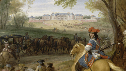 Arrival of Louis XIV preceded by his guardsmen at the old palace of Versailles in 1669, Adam Frans Van der Meulen (1632-1690), Versailles, châteaux de Versailles et de Trianon © RMN (Château de Versailles) / Gérard Blot