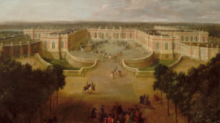 View of the Grand Trianon palace seen from the Avenue in 1723, showing the Regent giving orders for the arrival of Louis XV in the carriage in the courtyard, Pierre Denis Martin (1663-1742), Versailles, châteaux de Versailles et de Trianon © RMN (Château de Versailles) / Hervé Lewandowski