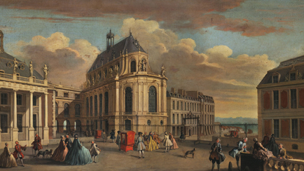 The palace of Versailles, the Chapel Courtyard in the early 18th century, Jacques Rigaud, Versailles, châteaux de Versailles et de Trianon © RMN (château de Versailles)/All rights reserved