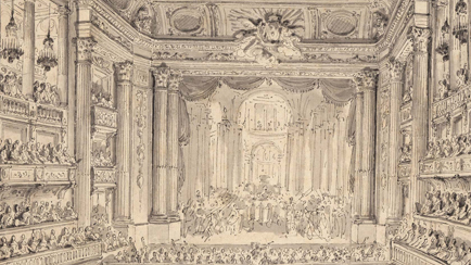 View of the Royal Opera of Versailles for the performance of Athalie by Racine on 23 May 1770 during the celebrations for the wedding of the Dauphin and Marie-Antoinette, Jean Michel Moreau the Younger (1741-1814), Versailles, châteaux de Versailles et de Trianon © RMN (Château de Versailles) / Gérard Blot