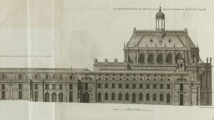 Section of the central building of Versailles (with the Hall of Mirrors and bedchamber of Louis XIV (Plate 490). - Lower gallery and vestibule on the Marble Court) - Elevation of one façade of the central building on the Royal Courtyard - Elevation of the façade of the north wing on the Royal Courtyard and its end pavilion (present Gabriel Wing) - Elevation of the Chapel of Versailles / ARCHITECTURE FRANCAISE - Volume IV - 1756 - Published by Charles-Louis JOMBERT in Paris. in folio, Jacques-François Blondel (1705-1774), Versailles, châteaux de Versailles et de Trianon © RMN (Château de Versailles) / Gérard Blot