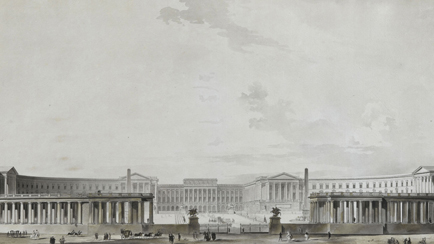 Proposal for the Grand Project to rebuild the palace of Versailles, entrance courtyards side. Reconstruction project for the palace of Versailles with a colonnade like that of Saint Peter's in Rome, circa 1780, Marie-Joseph Peyre (1730-1785) French architect, Versailles, châteaux de Versailles et de Trianon © RMN (Château de Versailles) / Gérard Blot