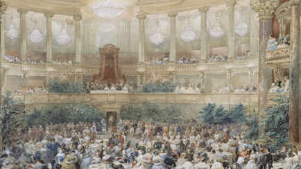 Visit of Queen Victoria to Paris in 1855, the supper offered by Napoleon III to Queen Victoria in the Royal Opera of the palace of Versailles, on 25 August 1855, Eugène Lami (1800-1890), Versailles, châteaux de Versailles et de Trianon © RMN (Château de Versailles) / Gérard Blot / Hervé Lewandowski