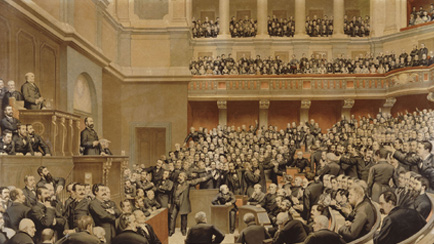 Thiers proclaimed ''Liberator of the Territory'', at a session of the National Assembly held in Versailles on 16 June 1877, after Jules Arsène Garnier (1847-1889), Versailles, châteaux de Versailles et de Trianon © RMN (Château de Versailles) / All rights reserved