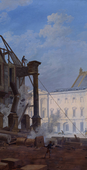 Demolition of the pavilion at the end of the old wing giving on to the main courtyard of the palace of Versailles in 1814, Pierre Drahonet (1766-1817), 1814, Versailles, châteaux de Versailles et de Trianon © RMN (Château de Versailles) / All rights reserved