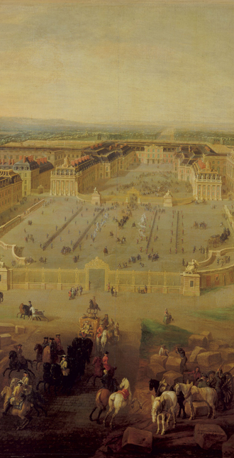 Vue du chteau de Versailles prise de la place d'Armes en 1722, Pierre Denis Martin (1663-1742), Versailles, chteaux de Versailles et de Trianon  RMN (Chteau de Versailles) / Droits rservs
