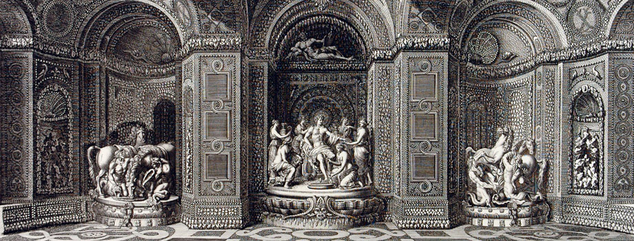 View of the interior of the Thetys Grotto of Versailles with the marble groups of the Sun surrounded by the nymphs of Thetys and his Horses groomed by Tritons, Jean Le Pautre (1618-1682), 1676, Versailles, châteaux de Versailles et de Trianon © EPV/ Jean-Marc Manaï