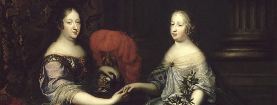 Portrait of the queen-mother Anne of Austria and queen Maria Theresa. The queen-mother Anne of Austria as Minerva, and queen Maria Theresa as Peace, Simon Renard de Saint-André (1613-1677), 1664, Versailles, châteaux de Versailles et de Trianon © RMN (Château de Versailles) / Gérard Blot