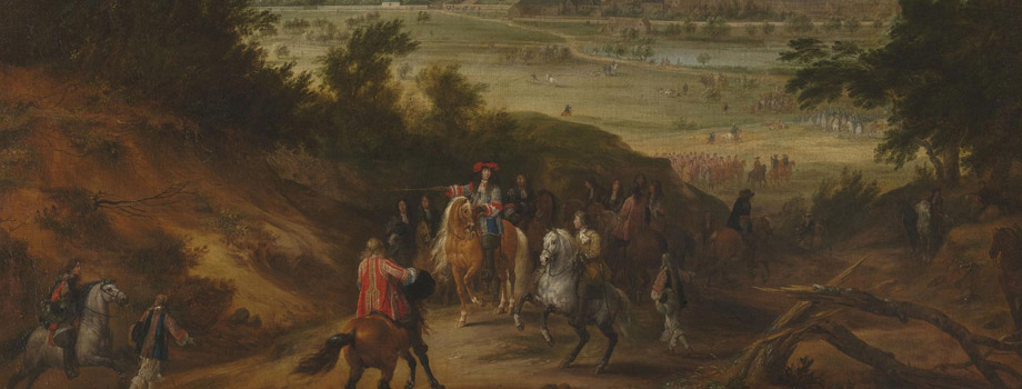 View of the palace of Versailles seen from the Satory plateau. Louis XIV giving orders to the hunt officer on the Satory plateau with a view of the palace of Versailles, Adam Frans Van der Meulen (1632-1690), 1664, Versailles, châteaux de Versailles et de Trianon © RMN (Château de Versailles) / Gérard Blot