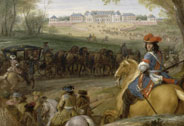 Arrival of Louis XIV preceded by his guardsmen at the old palace of Versailles, Adam Frans Van der Meulen (1632-1690), 1669, Versailles, châteaux de Versailles et de Trianon © RMN (Château de Versailles) / Gérard Blot