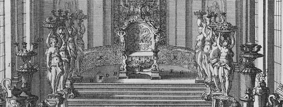 The Hall of Mirrors with the throne and the silver furniture arranged for the audience of the ambassadors of Siam in 1686, Versailles, chteaux de Versailles et de Trianon  RMN (Chteau de Versailles) / All rights reserved