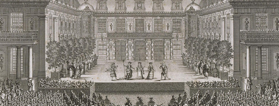 Festivity given by Louis XIV to celebrate the conquest of Franche-Comté at Versailles in 1674. First day, Wednesday 7 July: performance of the opera by Quinault Alceste in the Marble Courtyard of the palace of Versailles, Jean Le Pautre (1618-1682), 1676, Versailles, châteaux de Versailles et de Trianon © RMN (Château de Versailles) / Gérard Blot