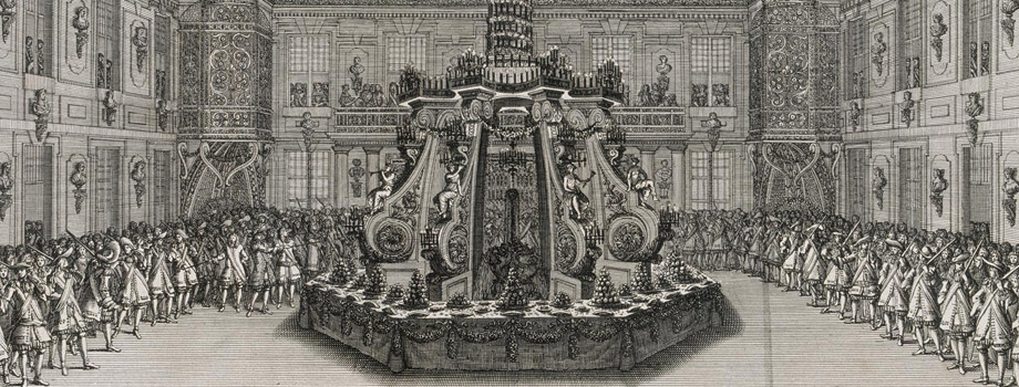 Festivity given by Louis XIV to celebrate the conquest of Franche-Comté at Versailles in 1674. Fourth day, feast with tables set around the fountain of the marble courtyard, Jean Le Pautre (1618-1682), 1676, Versailles, châteaux de Versailles et de Trianon © RMN (Château de Versailles) / Gérard Blot