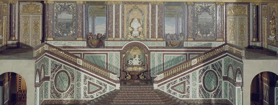 Interior view, Grand Apartments: scale model of the Ambassadors Staircase or Grand Degré of the King, Versailles, châteaux de Versailles et de Trianon © RMN (Château de Versailles) / All rights reserved