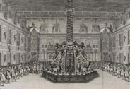 Festivity given by Louis XIV to celebrate the conquest of Franche-Comt at Versailles in 1674. Fourth day, feast with tables set around the fountain of the marble courtyard, Jean Le Pautre (1618-1682), 1676, Versailles, chteaux de Versailles et de Trianon  RMN (Chteau de Versailles) / Grard Blot