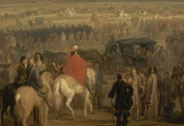 Louis XIV receiving the surrender of the citadel of Cambrai on 18 April 1677. Dom Pedro Zaval surrendering to Louis XIV circa 1678-1679, Frans Van der Meulen, Versailles, châteaux de Versailles et de Trianon © RMN (Château de Versailles) / Gérard Blot