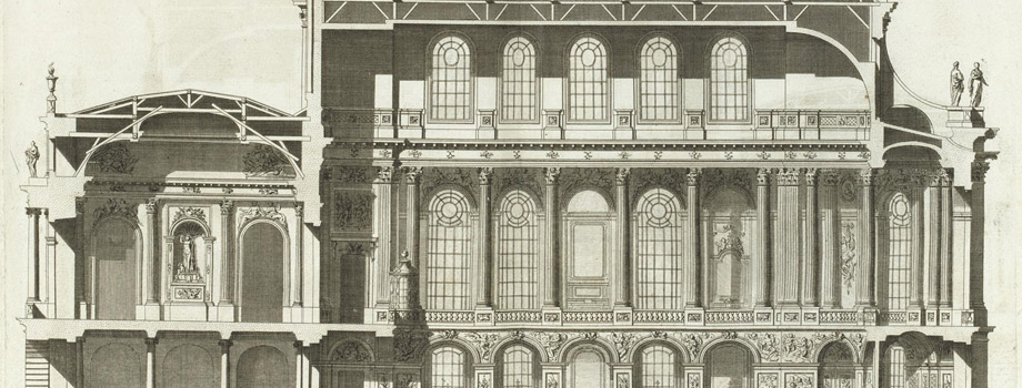 Longitudinal section of the Chapel of Versailles (north side) with section of the upper vestibule (Plate 494)/ ARCHITECTURE FRANCAISE - Volume IV - 1756 - Published by Charles-Louis JOMBERT in Paris. in folio, Jacques-François Blondel (1705-1774), 1756, Versailles, châteaux de Versailles et de Trianon © RMN (Château de Versailles) / Gérard Blot