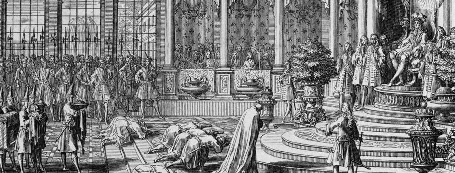 Les ambassadeurs de Siam reçus par Louis XIV en 1684, Sébastien Le Clerc , l'Ancien (1637-1714), Versailles, châteaux de Versailles et de Trianon © RMN (Château de Versailles) / Droits réservés