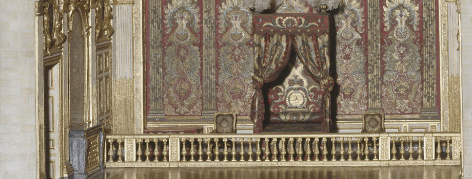 Scale model of the bedchamber of Louis XIV in Versailles, executed circa 1960, Charles Arquinet (20th century) model maker; French, Versailles, châteaux de Versailles et de Trianon © RMN (Château de Versailles) / Gérard Blot
