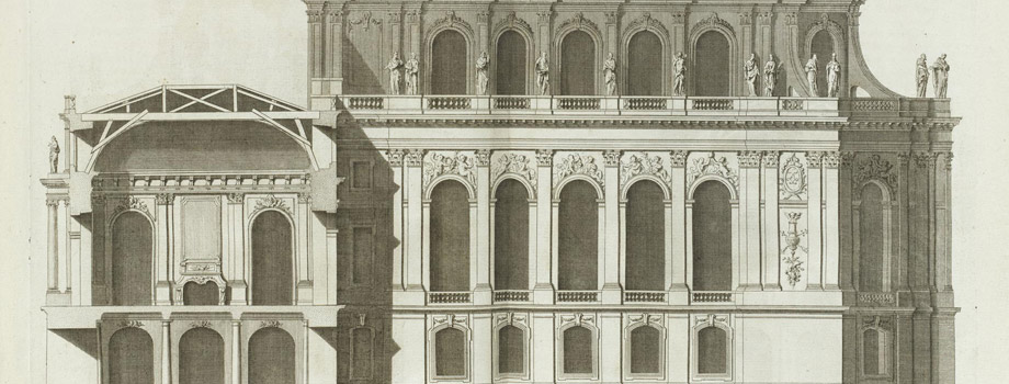 Elevation of the façade of the Chapel of Versailles in the Chapel courtyard with section of the Hercules Salon (Plate 493) chimney side / ARCHITECTURE FRANCAISE - Volume IV - 1756 - Published by Charles-Louis JOMBERT in Paris. in folio, Jacques-François Blondel (1705-1774), 1756, Versailles, châteaux de Versailles et de Trianon © RMN (Château de Versailles) / Gérard Blot
