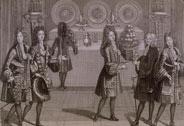 Buffet dressé pour la collation lors des soirées d'appartement à Versailles, Antoine Trouvain (1656-1708), 1696, Versailles, châteaux de Versailles et de Trianon © RMN (Château de Versailles) / Gérard Blot