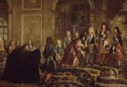 Réparation faite à Louis XIV par le doge de Gênes. Réparation faite à Louis XIV par le doge de Gênes dans la galerie des Glaces de Versailles, le 15 mai 1685, Claude Guy Hallé (1652-1736), vers 1710,  Versailles, châteaux de Versailles et de Trianon © RMN (Château de Versailles) / Gérard Blot / Christian Jean