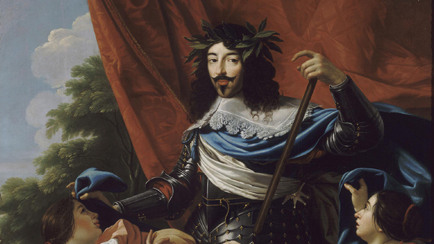 Allegorical portrait of King Louis XIII (1601-1643) in armour, crowned with laurel, between the figures of France and Navarre, Simon Vouet (1590-1649), 17th century, Versailles, chteaux de Versailles et de Trianon  RMN (Chteau de Versailles) / Daniel Arnaudet / Grard Blot