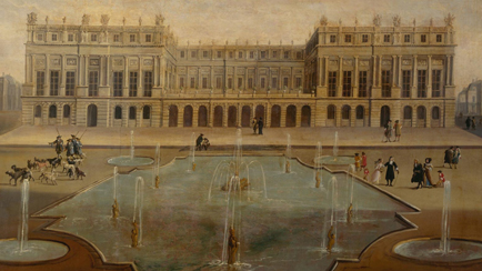 View of the Palace and the Water Parterre circa 1675. Façade of the central section occupied by the terrace before the construction of the Hall of Mirrors in 1679, Versailles, châteaux de Versailles et de Trianon © EPV/ Jean-Marc Manaï