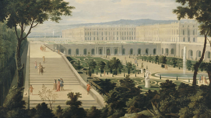 View of the Orangerie, the Hundred Steps stairways and the palace of Versailles circa 1695, attributed to Jean-Baptiste Martin the Elder (1659-1735), Versailles, chteaux de Versailles et de Trianon  RMN (Chteau de Versailles) / Franck Raux