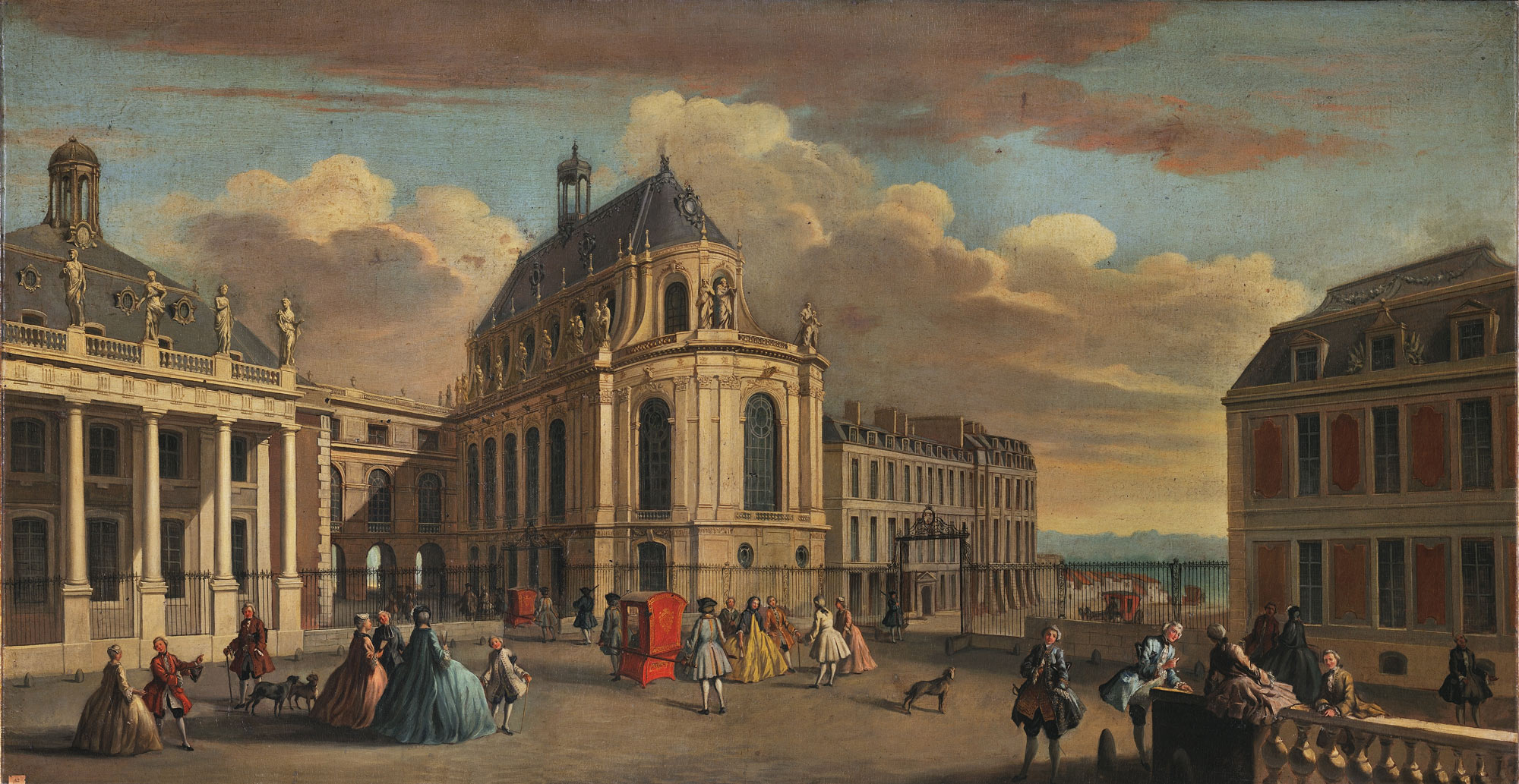 The palace of Versailles, the Chapel Courtyard in the early 18th century,  Jacques Rigaud