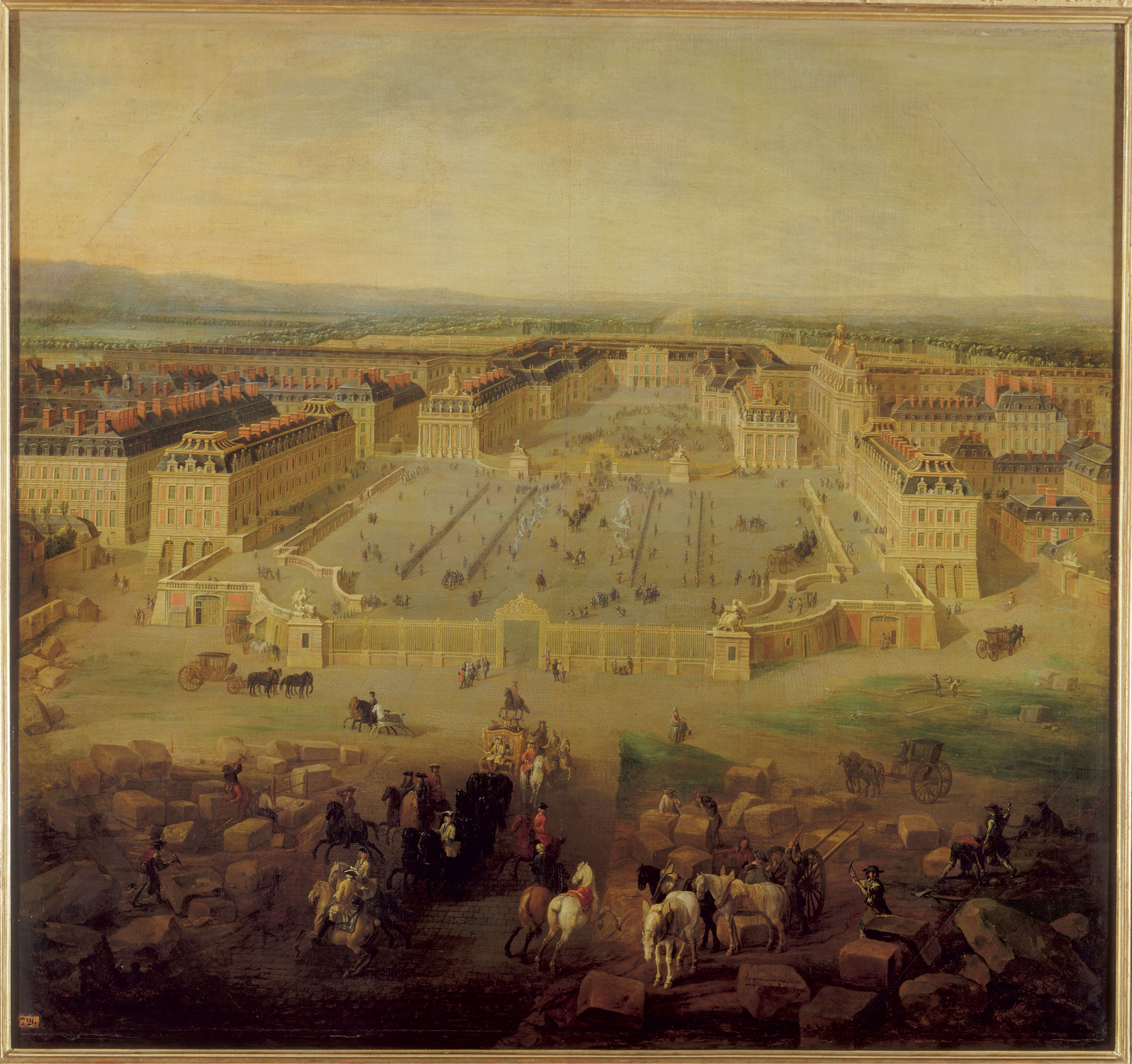 View of the palace of Versailles as seen from the Place d'Armes in 1722