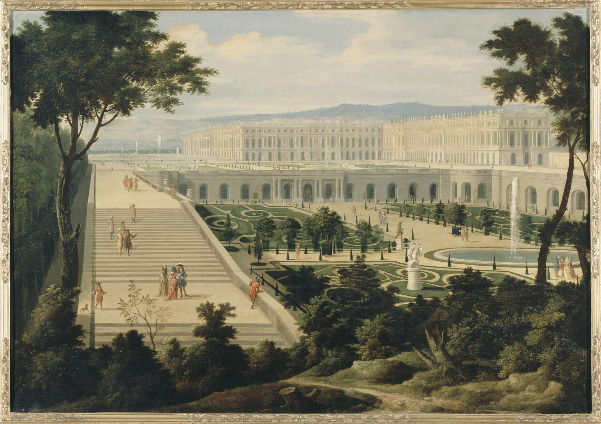 View of the Orangerie, the Hundred Steps stairways and the palace of  Versailles circa 1695